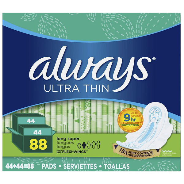 Always Ultra Thin Long Super Pads with Wings (Choose Count) 44 Count or 88 Count