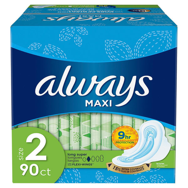 Always Maxi Long Super Pads with Wings: (Choose Count: 45 or 90 Count)