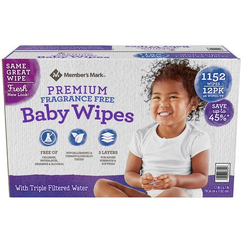 Member's Mark Premium Baby Wipes - 1152 Count (Choose: Scented or Unscented)