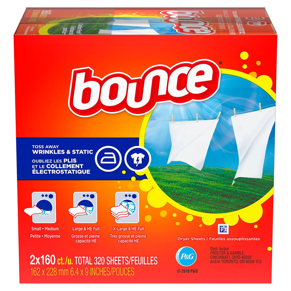 Bounce Fabric Softener Dryer Sheet Outdoor Fresh - Choose Count (Single 160 or 2-Pack 320 ct.)
