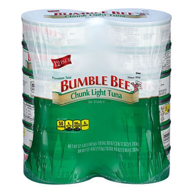 Bumble Bee Chunk Light Tuna in Water (5 oz. can) Choose Size (Single or 12-Pack)