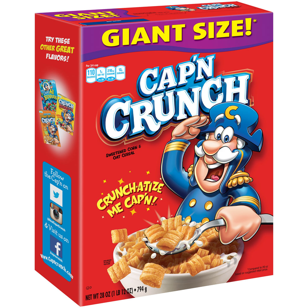 Cap'n Crunch Breakfast Cereal, Original, 28 oz Box