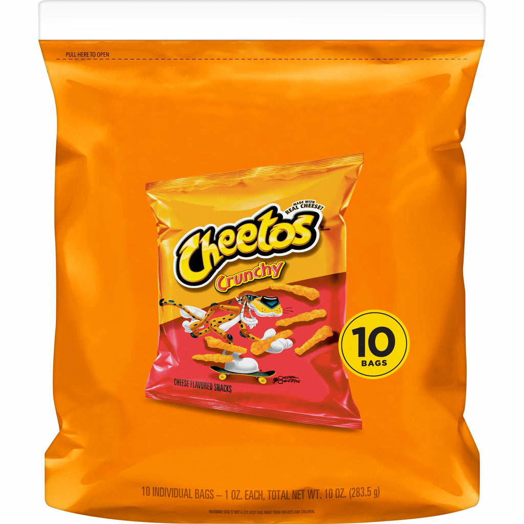 Cheetos Crunchy Singles Cheese Flavored Snacks, 10 Count (1oz Bags)