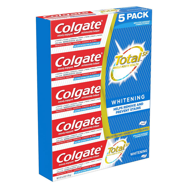 Colgate Total Whitening Toothpaste (6.3 oz.,) Choose Size (Single or 5-Pk)