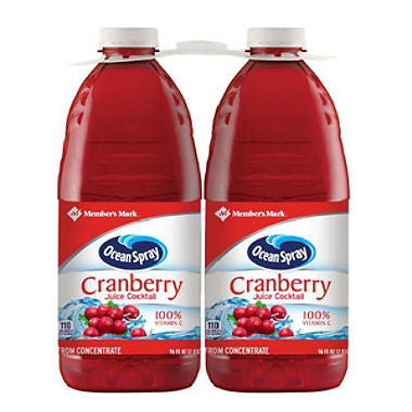 Member's Mark Cranberry Juice Cocktail by Ocean Spray - 96 fl. oz. (Choose Size: Single or 2 Pack)