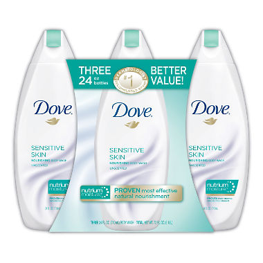 Dove Nourishing Body Wash, Sensitive Skin (24 fl. oz., 3 Pack)