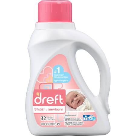Dreft Newborn 64 Loads Baby Liquid Laundry Detergent, 100 fl oz