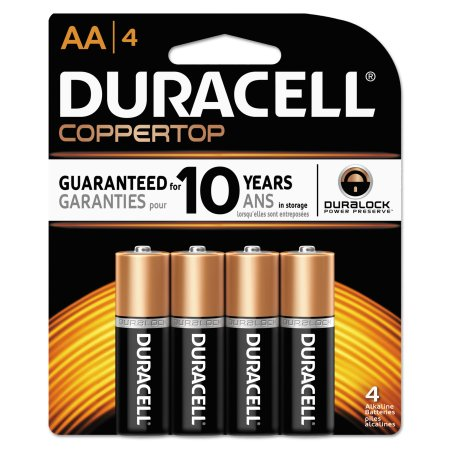 Batteries Duracell Coppertop Alkaline AA Batteries - 4 Pack