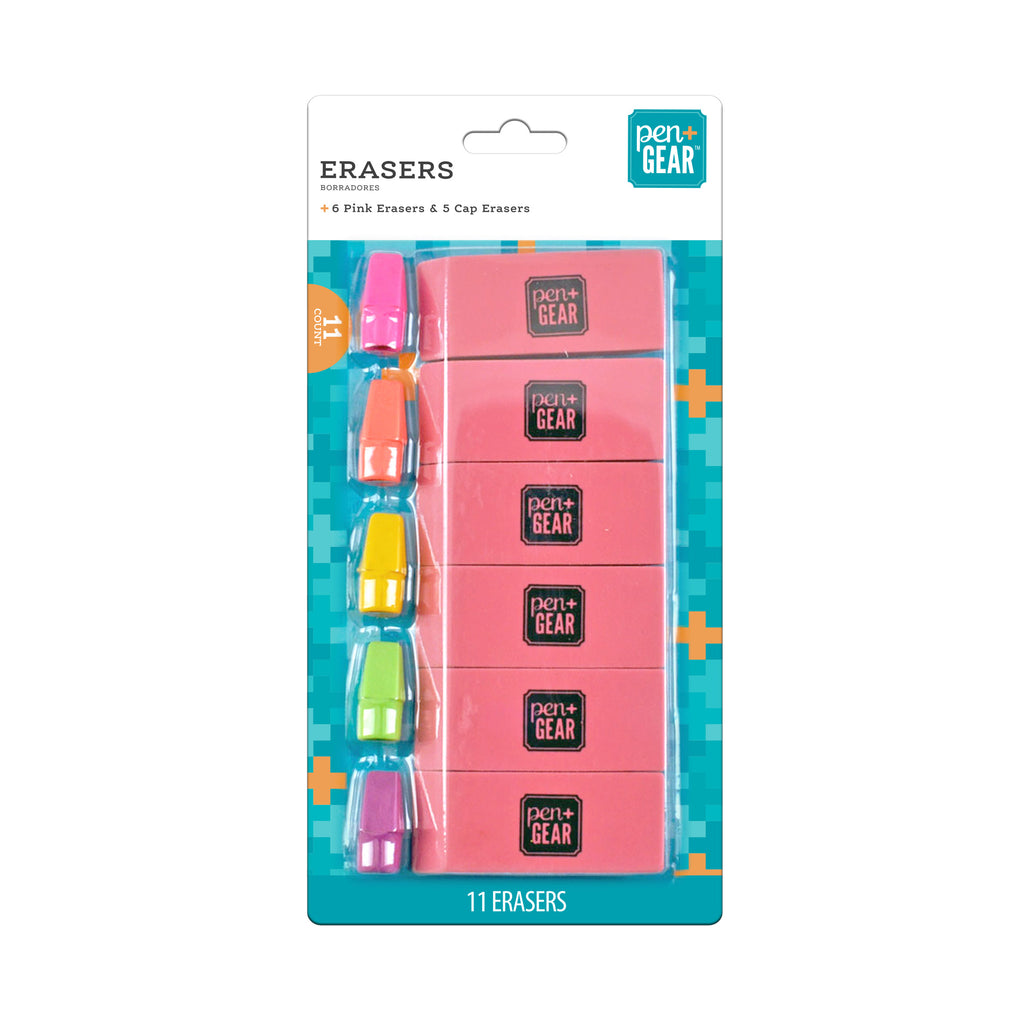 Erasers 11 Count - 6 pk with 5 cap erasers