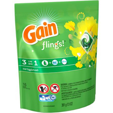 Gain flings Laundry Detergent Pacs 14 Packs - Choose your Scent: Moonlight Breeze and Original Scent