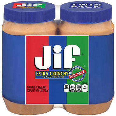 Jif Extra Crunchy Peanut Butter - Big 48 oz. jar (Choose Size, Single or 2 Pack.)