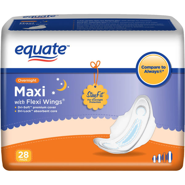 Equate Maxi Pads, Size 4, Overnight with Flexi-Wings (26 Count)