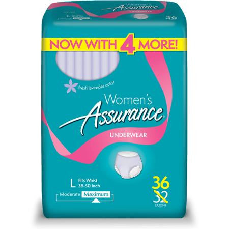 Equate Assurance for Women Maximum Absorbency Protective Underwear, Large, 36 count (Adult diapers)