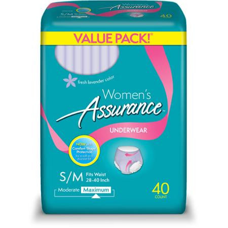 Equate Assurance for Women Maximum Absorbency Protective Underwear, Small/Medium, 40 Count (Adult diapers)