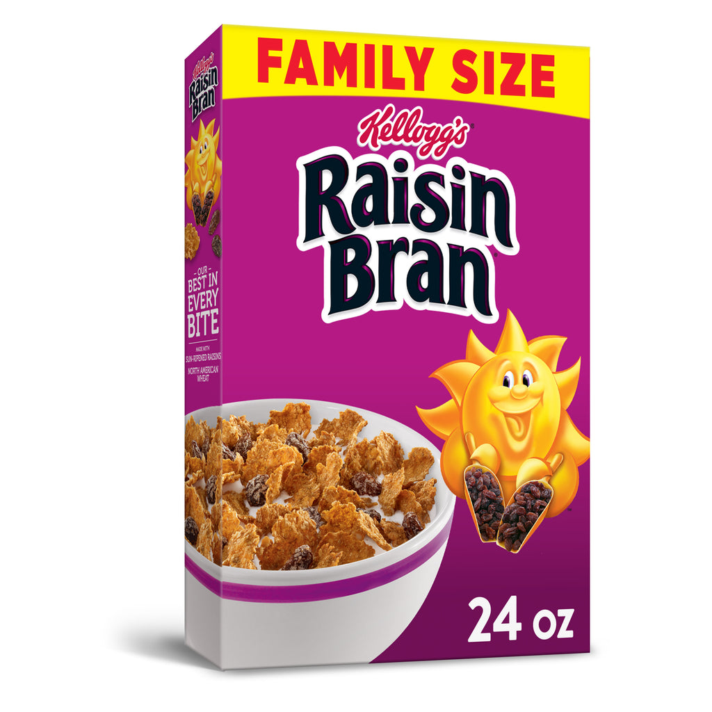 Kellogg's, Raisin Bran Breakfast Cereal, Original, Family Size, 24 Oz