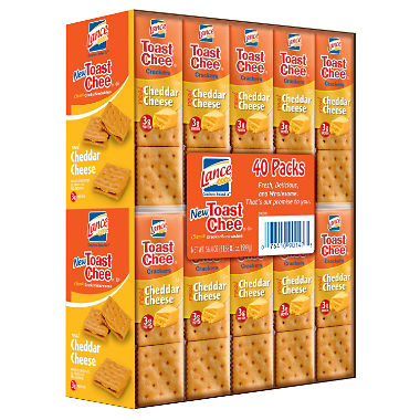 Lance ToastChee Cheddar Cheese Crackers (1.41 oz., 40 Count)
