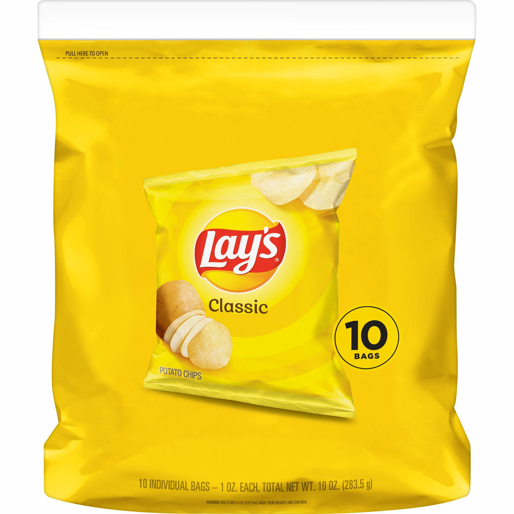 Chips - Lays Classic Potato Chips, Singles Pack (10 Count) 1.0 oz.