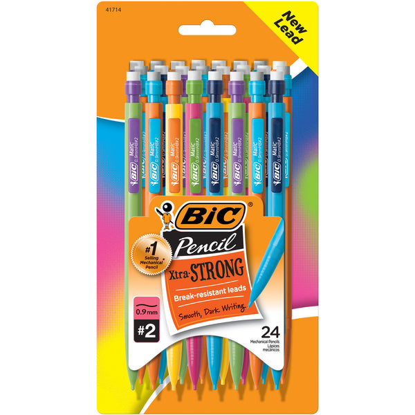 #2 BIC Xtra Strong No. 2 Mechanical Pencil, Thick Point (0.9mm) - Pack of 24 Pencils, Assorted Colors