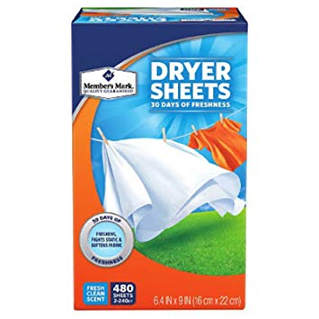 Member's Mark Fabric Softener Sheets Choose Size (Single 240 or 2-Pack 480 Count)