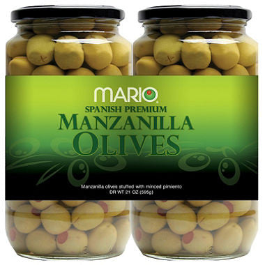 Mario Spanish Premium Manzanilla Olives - Choose your Size: (Single 21 oz. jar or 2 Count)