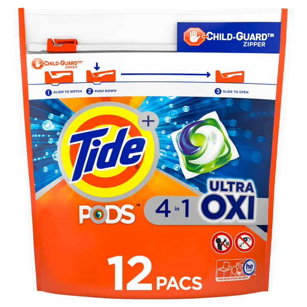 Tide PODS Liquid Laundry Detergent Pacs, 12 Count - Choose Scent: April Fresh or Ultra Oxi