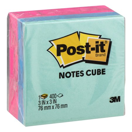 Post It Pink Sticky Note Cube, 400 Sheets per Cube, 3in. x 3in. Notes (Assorted Colors)