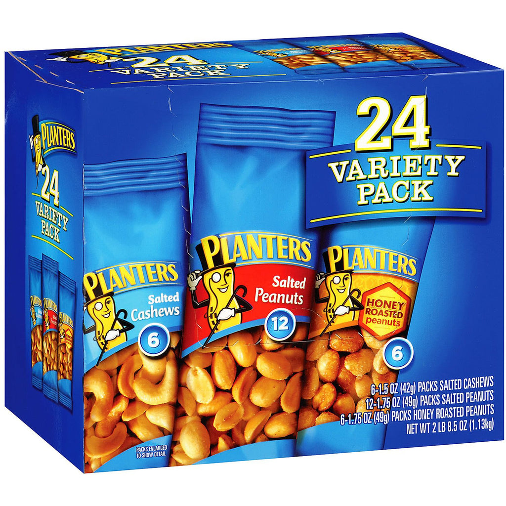 Planters Snack Nuts Variety Pack - 24 Count (1.75 oz Pouches)