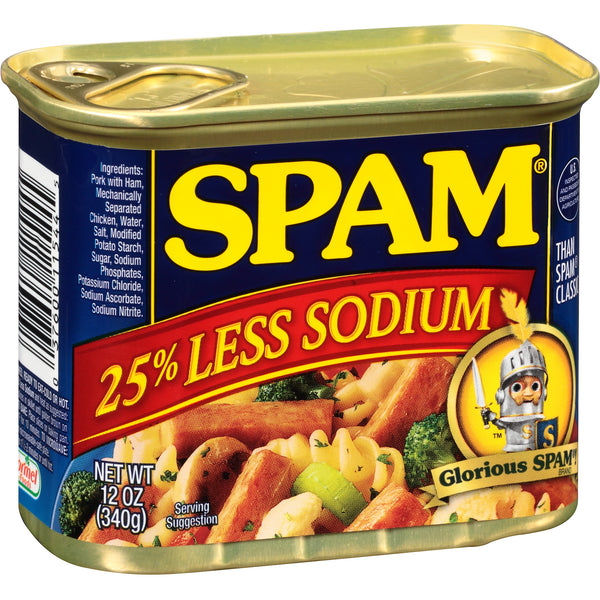 Spam Less Sodium (12 oz can) Choose Size (3 Pack or 6 Pack)