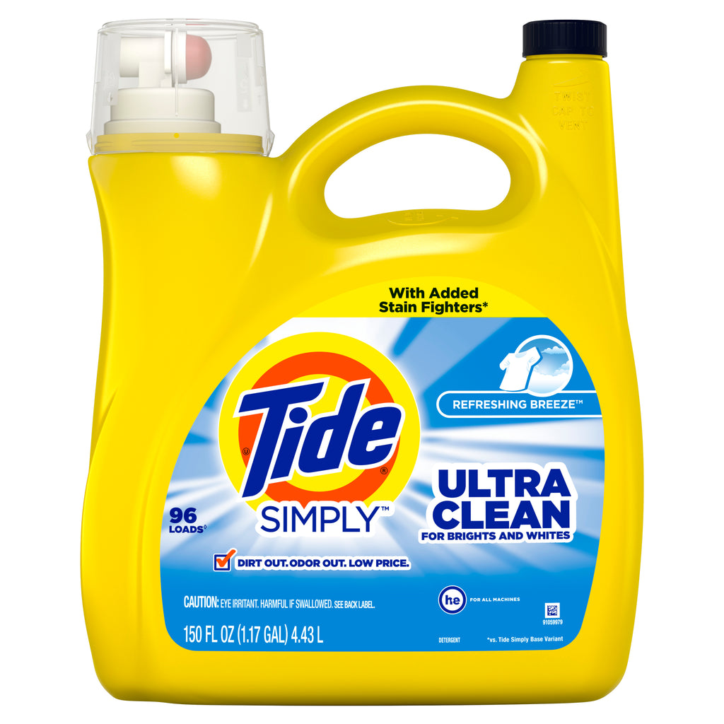 Tide Simply Clean and Fresh Refreshing Breeze Liquid Laundry Detergent 96 Loads, 150 fl oz