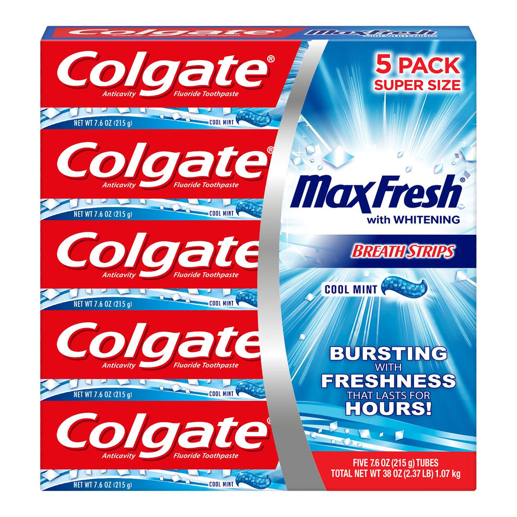 Colgate MaxFresh Toothpaste, Cool Mint 7.6 oz., (Choose Size: Single or 5 Pack)