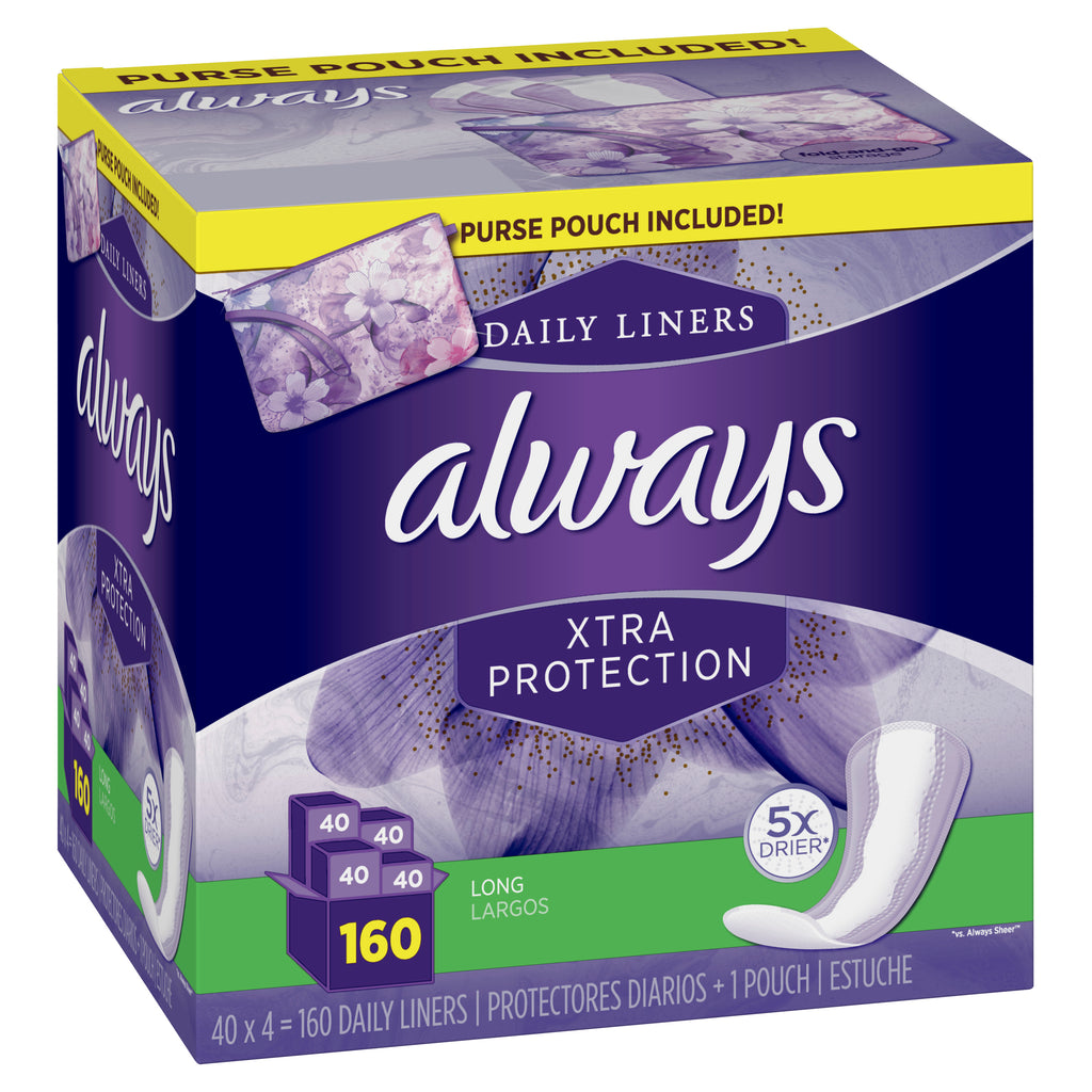 Always Xtra Protection Daily Panty Liners, Long - Choose Count 40 or 160