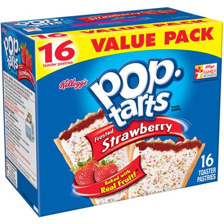 Kellogg's Pop-Tarts Frosted Strawberry Toaster Pastries, 16 count, 29.3 oz