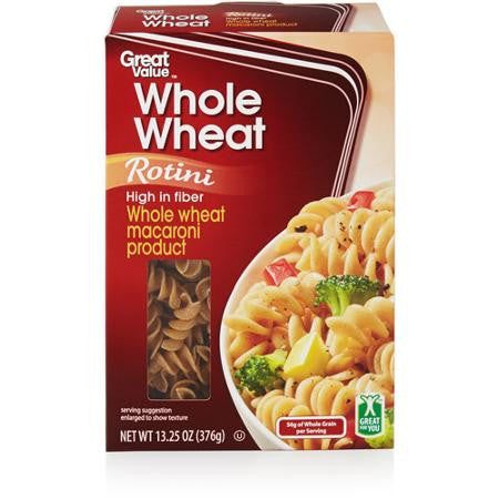 Great Value Whole Wheat Rotini Pasta, 13.25 oz