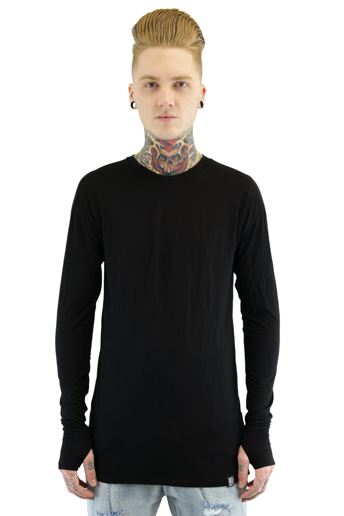 Long Sleeve Side Slit Tee | Black