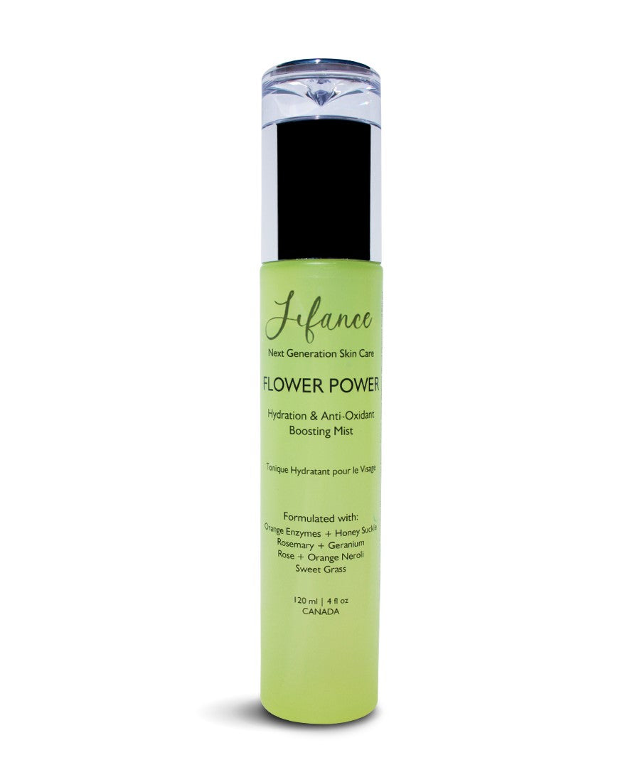Green Bottle FLOWER POWER Antioxidant Hydration Mist 120 mls - LIFANCE Super Natural Skin Care   Clean Chemistry | Complex Formulas