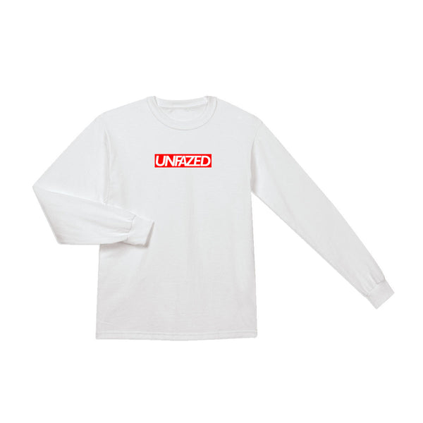 Unfazed - Box Logo Long Sleeve (White)