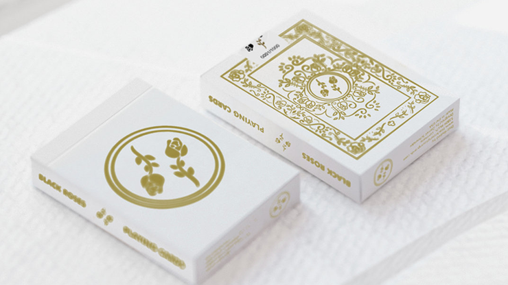 Black Roses White Gold Playing Cards