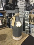 Painted wine bottle
