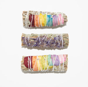 White Sage + Chakra Rainbow Rose Petals Smudge Stick