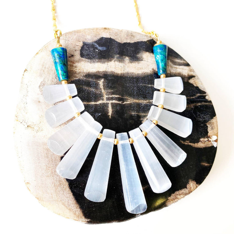 Statement Necklace- Selenite Crystal Jewelry