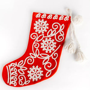 EMBROIDERED WOOL CHRISTMAS STOCKING