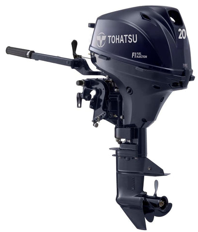 "2019 Tohatsu 20 HP MFS20ES Outboard Motor 15"" Shortshaft Fuel Injected 95lbs"