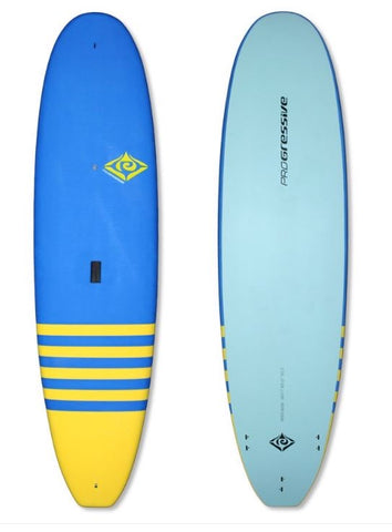 "Progressive 7'6"" Soft Top Fun Surfboard w/FCS Fins & Leash"