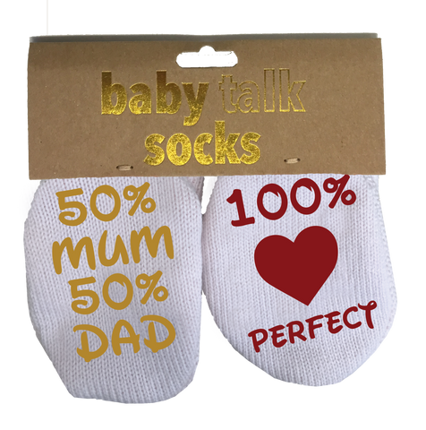 BABY TALK SOCKS - 50% MUM & 50% DAD = 100% PERFECT