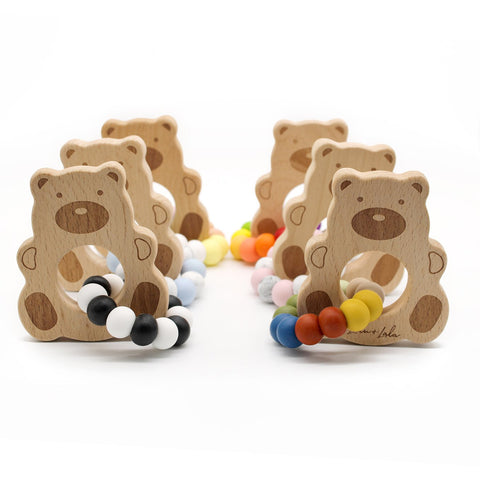 TED ~ silicone + beech wood teether