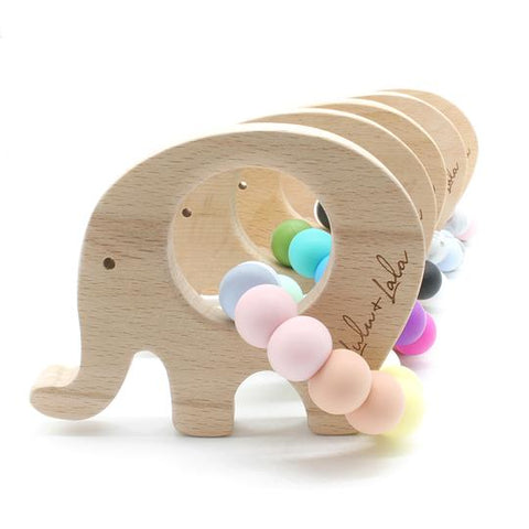 ELLE ~ silicone + beechwood teether