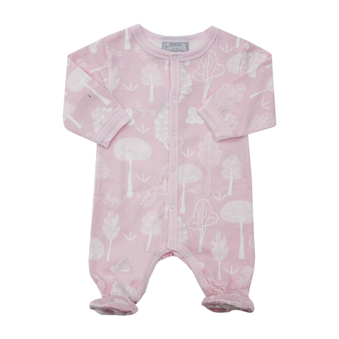 Coccoli organic cotton footie suit -Forest pink