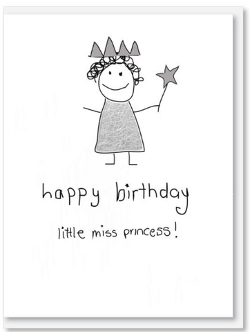 Icandy card Baby - Birthday - Princess scrawl