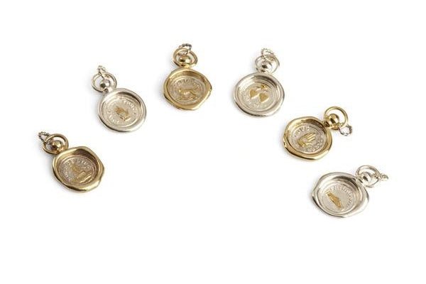 Jessica de Lotz JdL Jewellery Across the Waters 19th century Victorian symbol wax seal jewellery sterling silver and gold plated silver charms