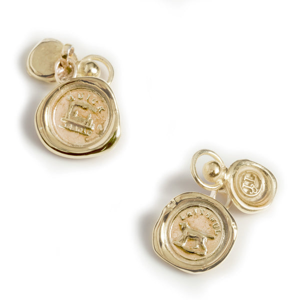 19th Century Mini Wax Seal Chain Cufflinks